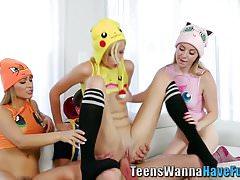 Costumed teens jizzed