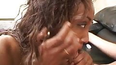 Lucky white guy gets balls licked by ebony hooker