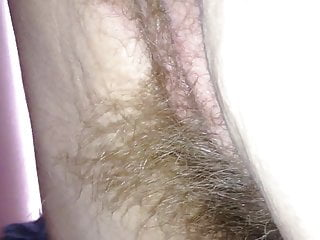 long soft pubic hair hanging from her ass & pussy.