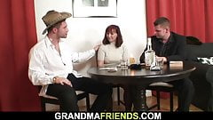 Two boozed dudes fuck hairy redhead granny