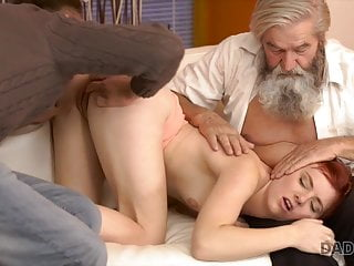 Chick's shaved pussy is fingered by old man and son in turn