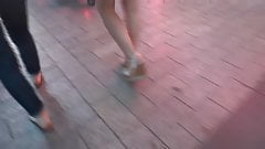 Candid sexy legs with wedges heels