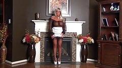 Samantha Sucks Cock thru a Nylon Stocking.