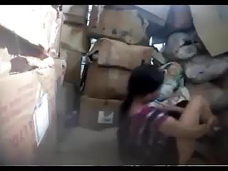 Boss fucking nepali worker in store room