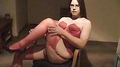 Horny CD  in red lingerie tease his sissy dick