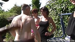 Mature ladies internationally fucked in an outdoor orgy