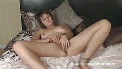 Onyx masturbates her hairy pussy with a vibrator