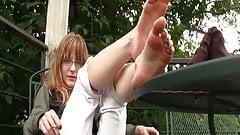 Mandy, barefoot smoking