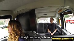 Busty british cabbie cockriding her client