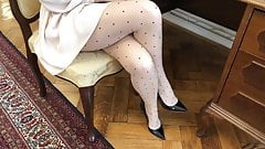 Beautiful MILF Secretary in Silk Pantyhose