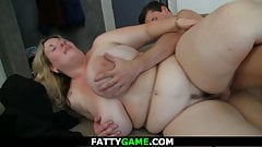 Big tits blonde fatty spreads legs for stranger