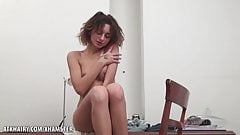 Dominika strokes her sweet young bush