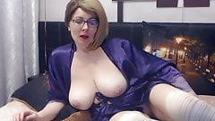 Mature with glasses play her self
