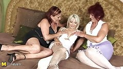 Two amateur mature lesbians share a hot girl