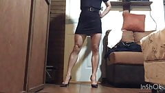 Sexy black mini dress and stiletto high heels