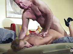 Old Man Dominated by sexy hot babe in old young femdom hard