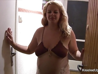 Preview 1 of Slutty and knocked up blonde fucks on the couch