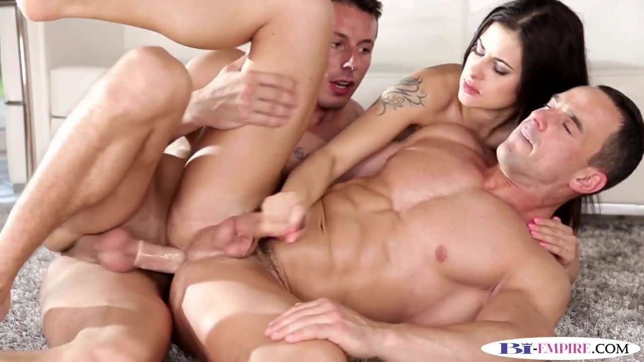 Alone! pounded in licking bisexual trio while jock something
