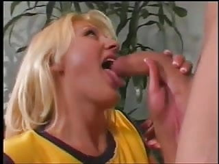 Sexy young blonde babe gets a hard cock in her pussy, cum on her face