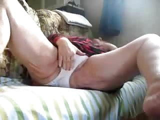 Hidden cam catches my old mom fingering on couch