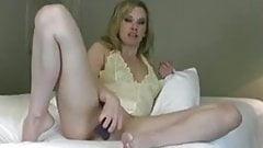 Horny milf satisfies herself with big dildo