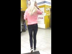 Attractive blonde's ass