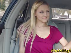 Hitchhiking teen with big saggy tits fucked for a free ride