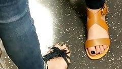Candid feet - hot girls on Tube train