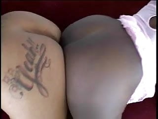 Sexy black ladies toy each other's pussies and use double dildo