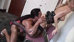 British blonde slut gets fucked on a chair