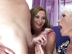GILF and MILF gets pissing and fucking with boy