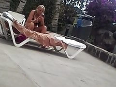 big titted milf round the pool