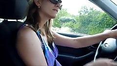 GF fingering herself in car
