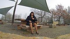 handjob alone outdoors