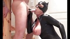 Blonde in catsuit blows and fucks