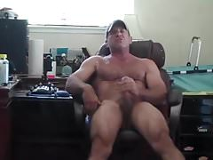 Muscle Daddy Mirror Jerk Off & Cum