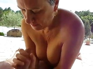 Granny Handjob  Outdoors With A Nice View