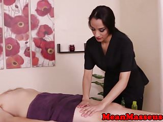 Dominating masseuse Nicki Ortega jerks client