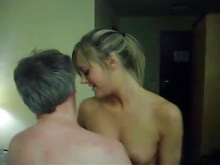 Old guy gets lucky with hotblonde in hotel