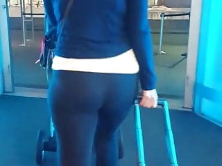 Bubble butt Asian milf at the airport