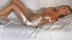 Girl in cling film wrap