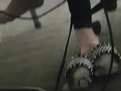 Candid redhead feet at computer lab
