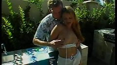 Lovely blonde with perky tits gets fucked by huge cock outdoors