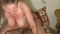 Big tits milf rides her man