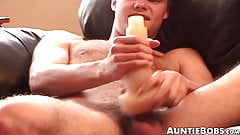 Hairy jock stretches pocket pussy with big dick and cumshot