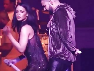 Rihanna twerking on little dick's Drake in Live.