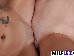 Sweet lesbian babes with creamy cunts