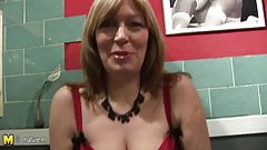 Mature European mom playing with wet pussy