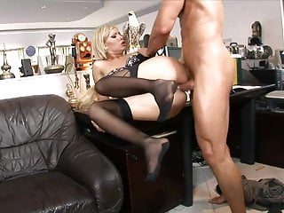 Blonde MILF slides on guy's hard cock like a pro