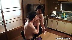 Japanese busty teacher, Mikan Kururugi is fucking a student,